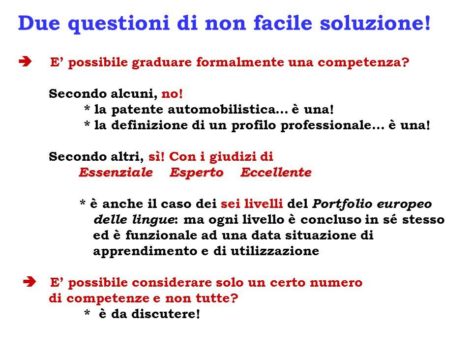 Essenziale Esperto Eccellente Due questioni di non facile soluzione!  E' possibile graduare formalmente una competenza? Secondo alcuni, no! * la pate