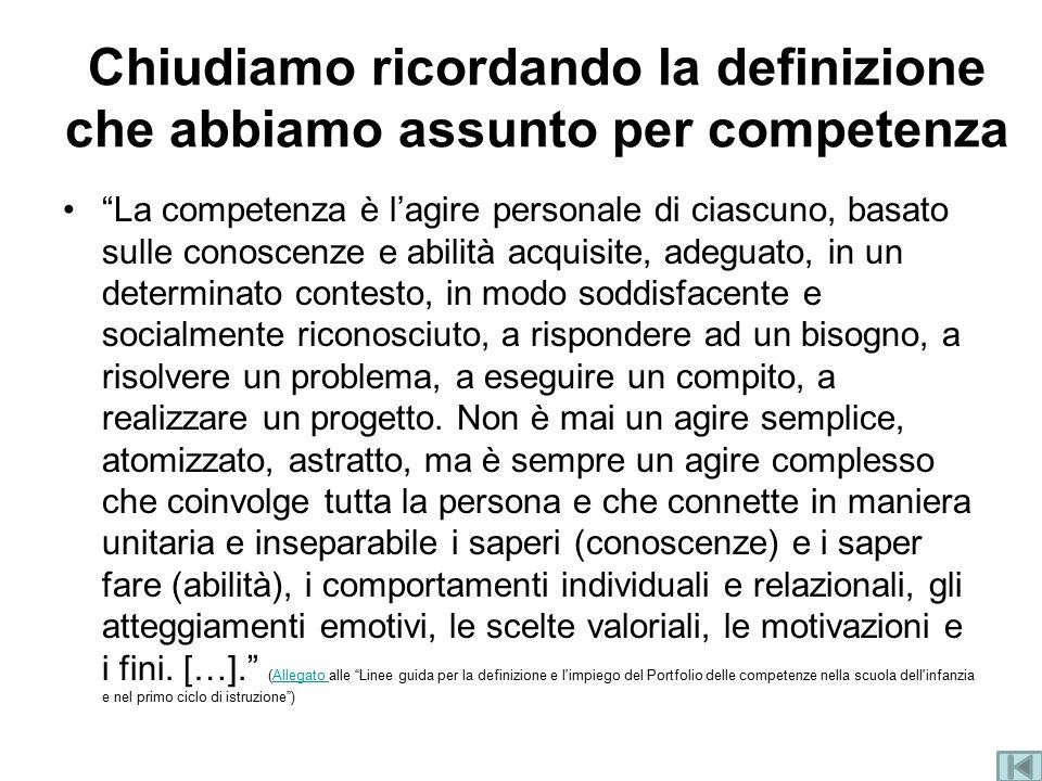 """Chiudiamo ricordando la definizione che abbiamo assunto per competenza """"La competenza è l'agire personale di ciascuno, basato sulle conoscenze e abili"""