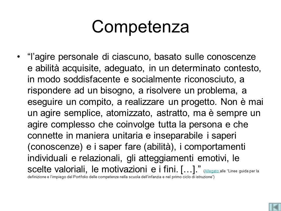 """Competenza """"l'agire personale di ciascuno, basato sulle conoscenze e abilità acquisite, adeguato, in un determinato contesto, in modo soddisfacente e"""