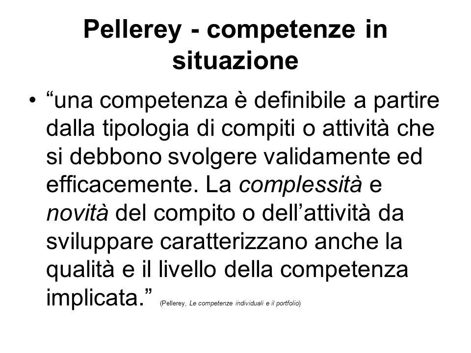 """Pellerey - competenze in situazione """"una competenza è definibile a partire dalla tipologia di compiti o attività che si debbono svolgere validamente e"""