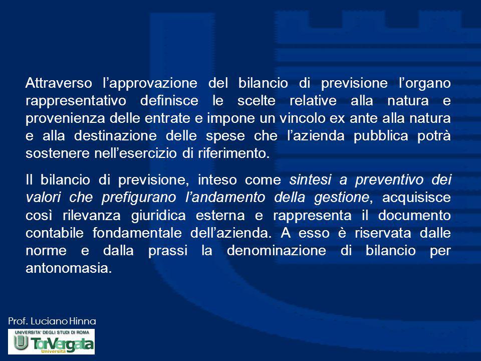 Prof. Luciano Hinna Attraverso l'approvazione del bilancio di previsione l'organo rappresentativo definisce le scelte relative alla natura e provenien