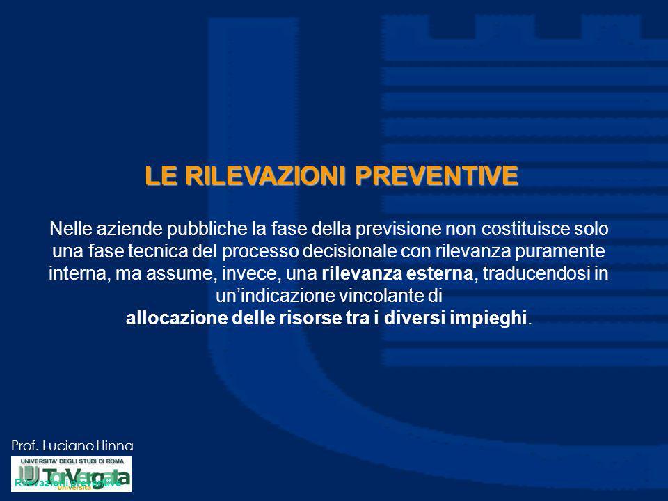 Prof. Luciano Hinna LE RILEVAZIONI PREVENTIVE Nelle aziende pubbliche la fase della previsione non costituisce solo una fase tecnica del processo deci
