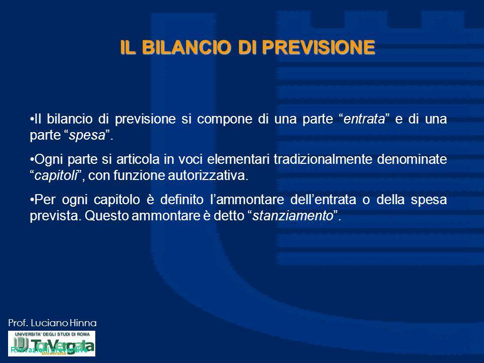 """Prof. Luciano Hinna IL BILANCIO DI PREVISIONE Il bilancio di previsione si compone di una parte """"entrata"""" e di una parte """"spesa"""". Ogni parte si artico"""