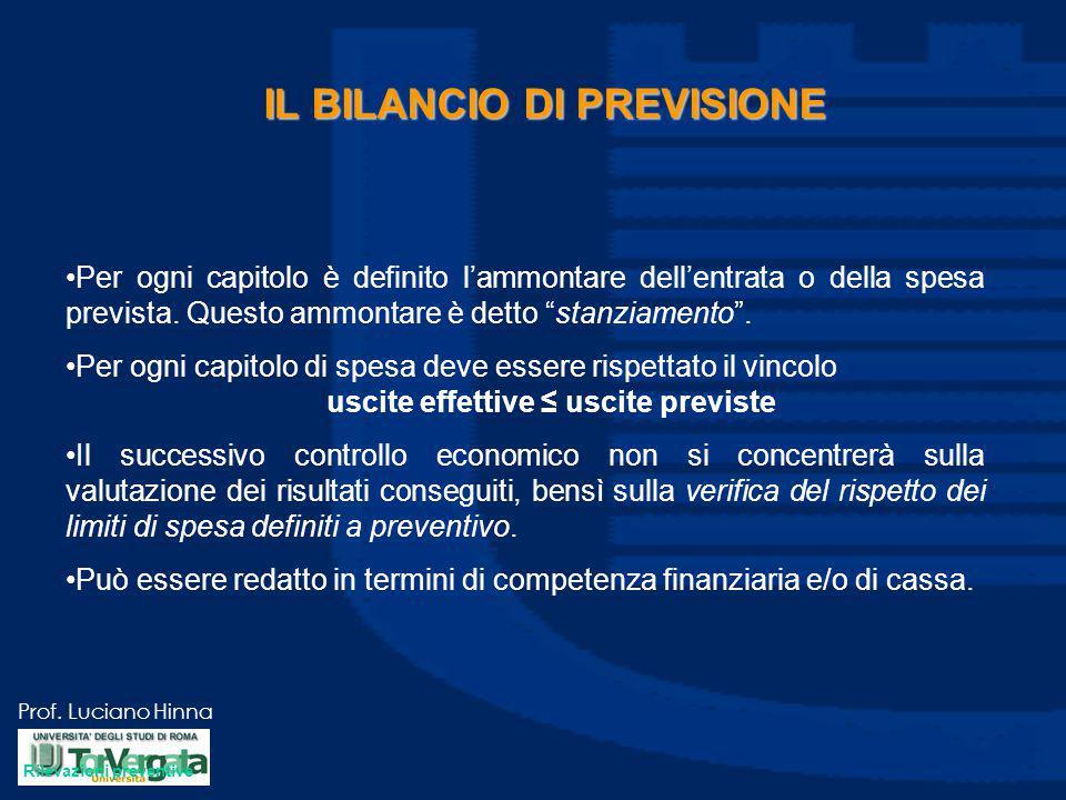 """Prof. Luciano Hinna IL BILANCIO DI PREVISIONE Per ogni capitolo è definito l'ammontare dell'entrata o della spesa prevista. Questo ammontare è detto """""""
