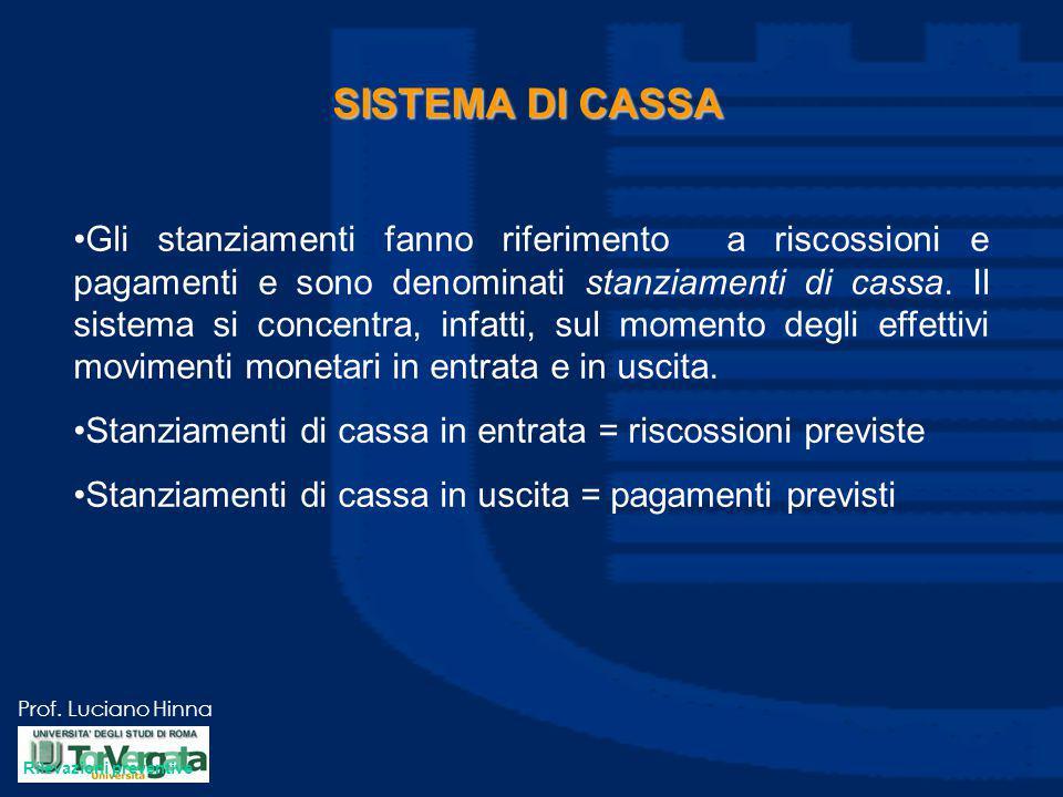 Prof. Luciano Hinna SISTEMA DI CASSA Gli stanziamenti fanno riferimento a riscossioni e pagamenti e sono denominati stanziamenti di cassa. Il sistema