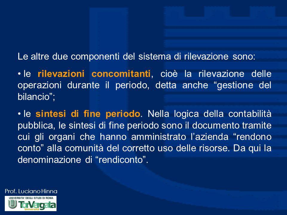 Prof. Luciano Hinna Le altre due componenti del sistema di rilevazione sono: le rilevazioni concomitanti, cioè la rilevazione delle operazioni durante