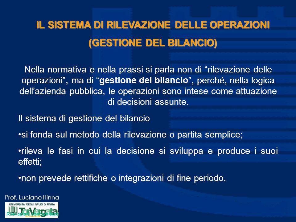 """Prof. Luciano Hinna IL SISTEMA DI RILEVAZIONE DELLE OPERAZIONI (GESTIONE DEL BILANCIO) Nella normativa e nella prassi si parla non di """"rilevazione del"""