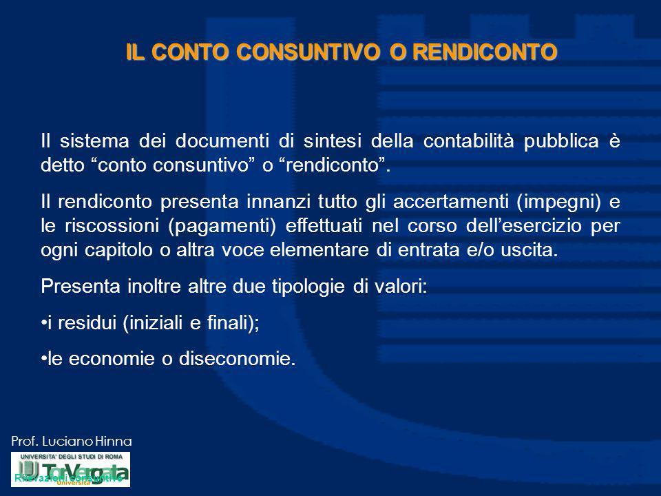 """Prof. Luciano Hinna IL CONTO CONSUNTIVO O RENDICONTO Il sistema dei documenti di sintesi della contabilità pubblica è detto """"conto consuntivo"""" o """"rend"""