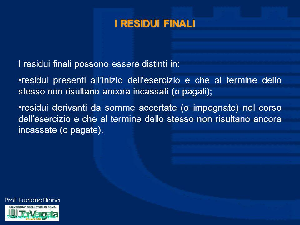 Prof. Luciano Hinna I RESIDUI FINALI I residui finali possono essere distinti in: residui presenti all'inizio dell'esercizio e che al termine dello st