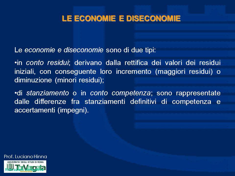 Prof. Luciano Hinna LE ECONOMIE E DISECONOMIE Le economie e diseconomie sono di due tipi: in conto residui; derivano dalla rettifica dei valori dei re