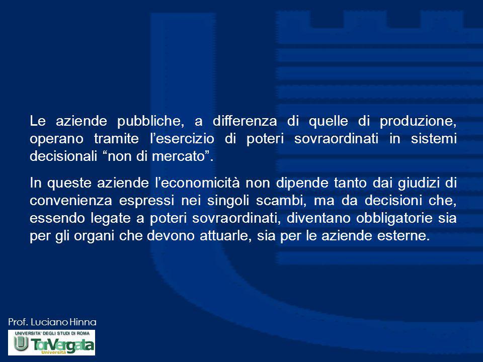 Prof. Luciano Hinna Le aziende pubbliche, a differenza di quelle di produzione, operano tramite l'esercizio di poteri sovraordinati in sistemi decisio