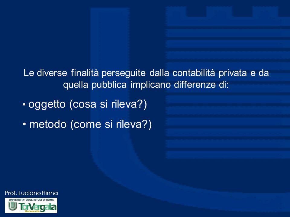 Prof. Luciano Hinna Le diverse finalità perseguite dalla contabilità privata e da quella pubblica implicano differenze di: oggetto (cosa si rileva?) m