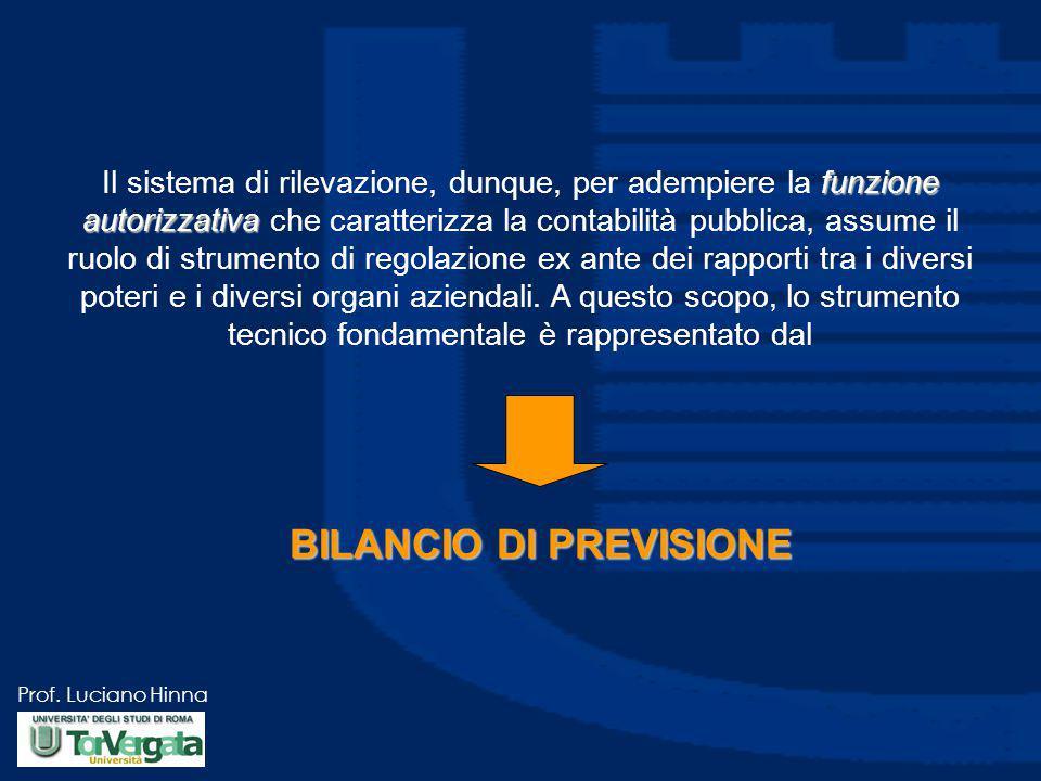 Prof. Luciano Hinna funzione autorizzativa Il sistema di rilevazione, dunque, per adempiere la funzione autorizzativa che caratterizza la contabilità