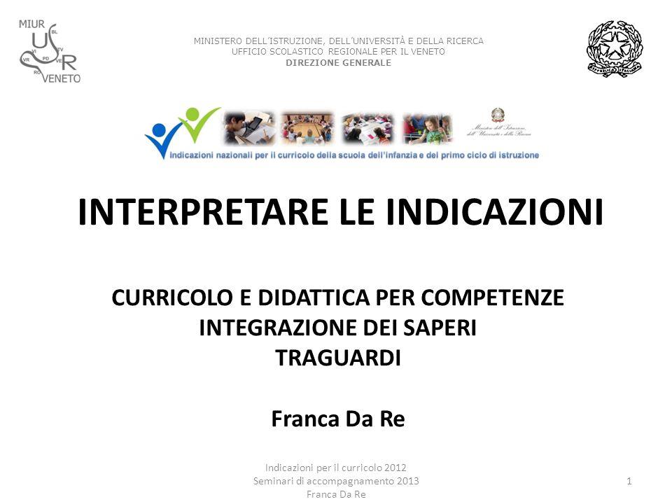 INTERPRETARE LE INDICAZIONI CURRICOLO E DIDATTICA PER COMPETENZE INTEGRAZIONE DEI SAPERI TRAGUARDI Franca Da Re Indicazioni per il curricolo 2012 Semi