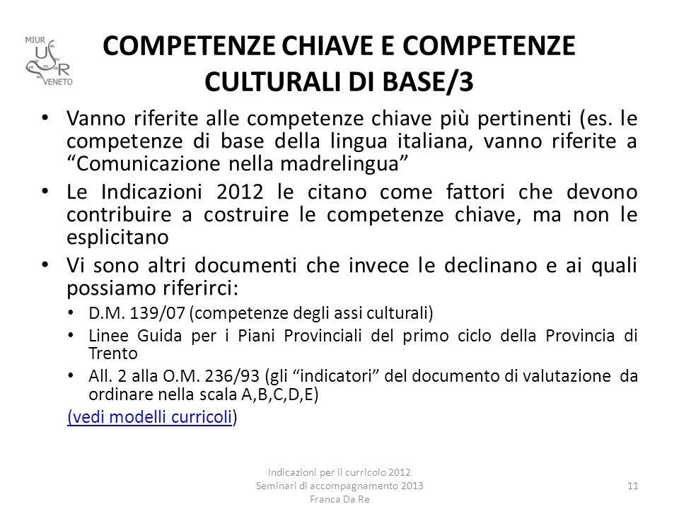 COMPETENZE CHIAVE E COMPETENZE CULTURALI DI BASE/3 Vanno riferite alle competenze chiave più pertinenti (es. le competenze di base della lingua italia