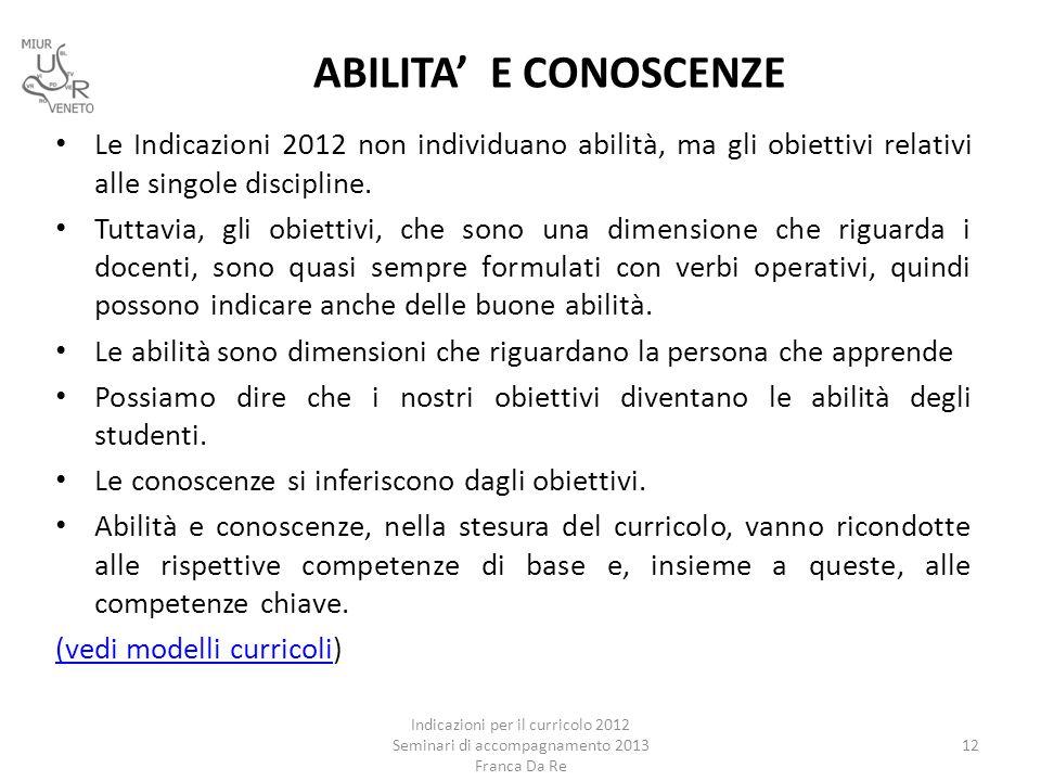 ABILITA' E CONOSCENZE Le Indicazioni 2012 non individuano abilità, ma gli obiettivi relativi alle singole discipline. Tuttavia, gli obiettivi, che son