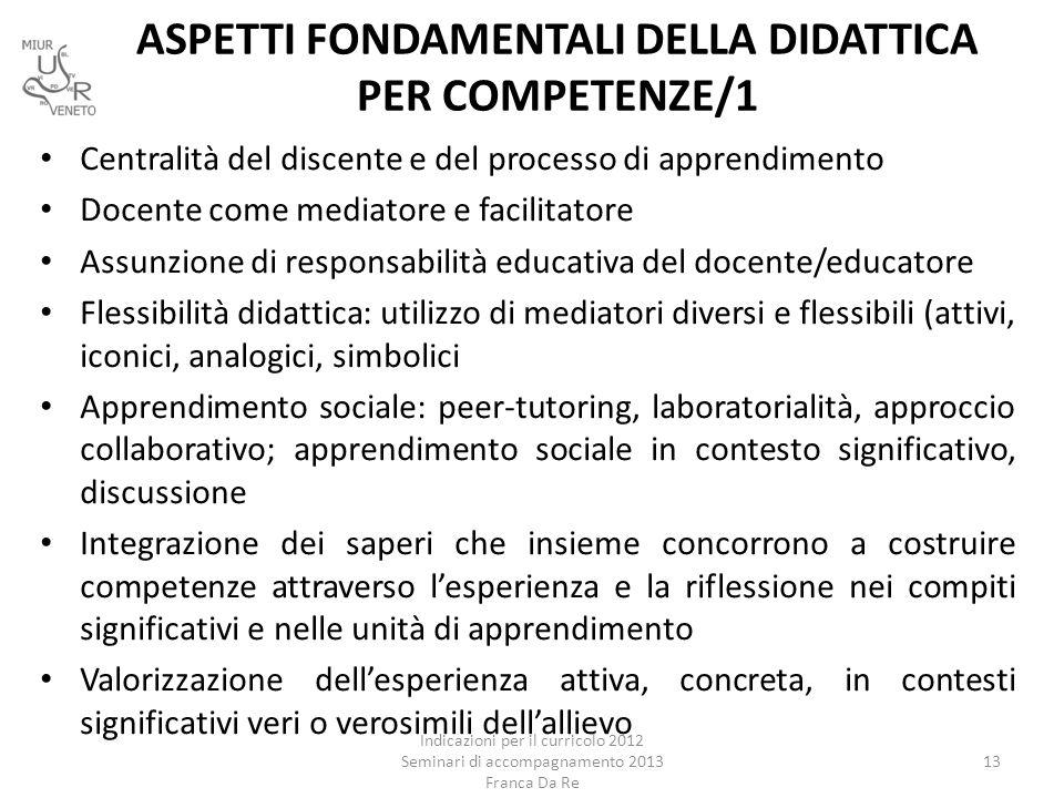 ASPETTI FONDAMENTALI DELLA DIDATTICA PER COMPETENZE/1 Indicazioni per il curricolo 2012 Seminari di accompagnamento 2013 Franca Da Re 13 Centralità de