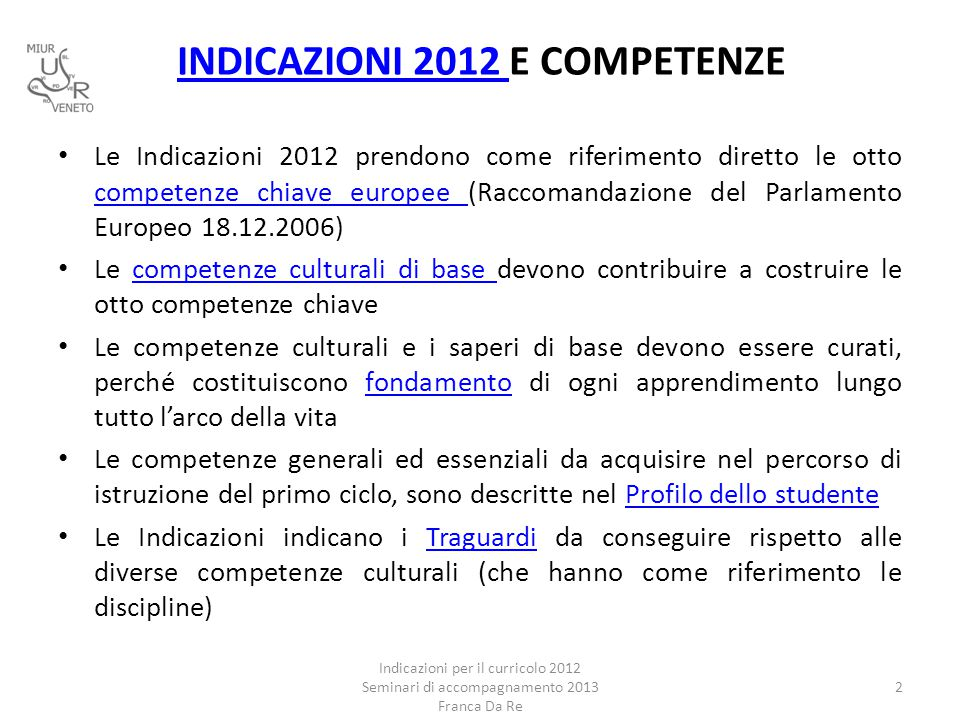 INDICAZIONI 2012 INDICAZIONI 2012 E COMPETENZE Le Indicazioni 2012 prendono come riferimento diretto le otto competenze chiave europee (Raccomandazion