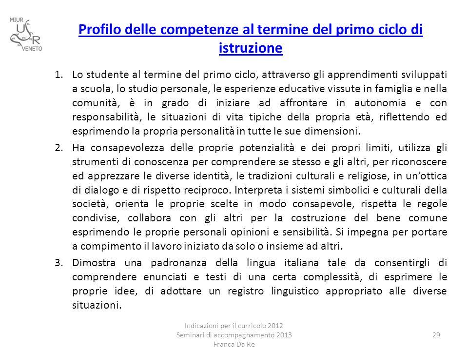 Profilo delle competenze al termine del primo ciclo di istruzione 1.Lo studente al termine del primo ciclo, attraverso gli apprendimenti sviluppati a