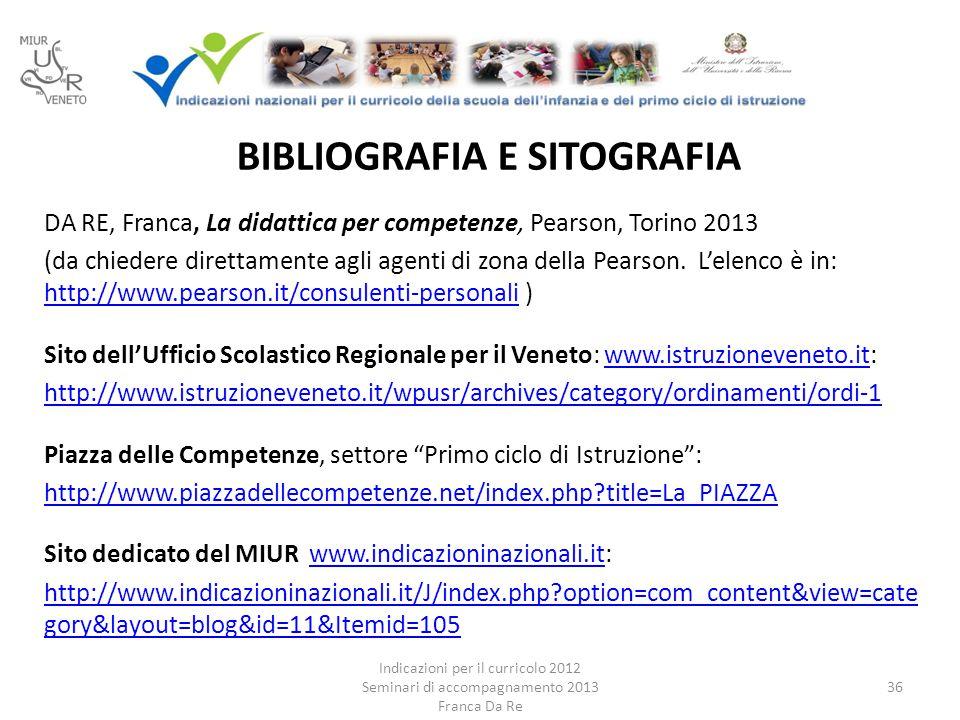BIBLIOGRAFIA E SITOGRAFIA DA RE, Franca, La didattica per competenze, Pearson, Torino 2013 (da chiedere direttamente agli agenti di zona della Pearson