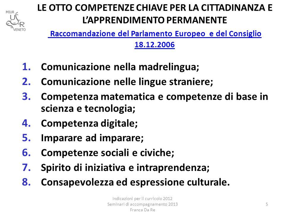 LE OTTO COMPETENZE CHIAVE PER LA CITTADINANZA E L'APPRENDIMENTO PERMANENTE Raccomandazione del Parlamento Europeo e del Consiglio 18.12.2006 Raccomand