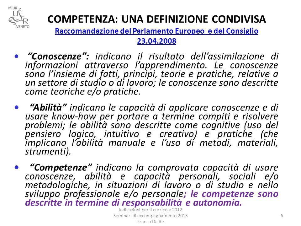 COMPETENZA: UNA DEFINIZIONE CONDIVISA Raccomandazione del Parlamento Europeo e del Consiglio 23.04.2008 Raccomandazione del Parlamento Europeo e del C
