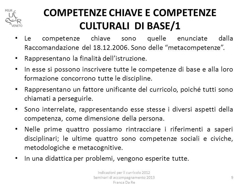 """COMPETENZE CHIAVE E COMPETENZE CULTURALI DI BASE/1 Le competenze chiave sono quelle enunciate dalla Raccomandazione del 18.12.2006. Sono delle """"metaco"""