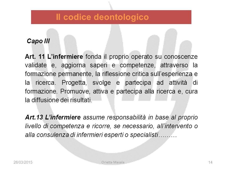Il codice deontologico 26/03/2015 Orietta Masala 14 Capo III Art.