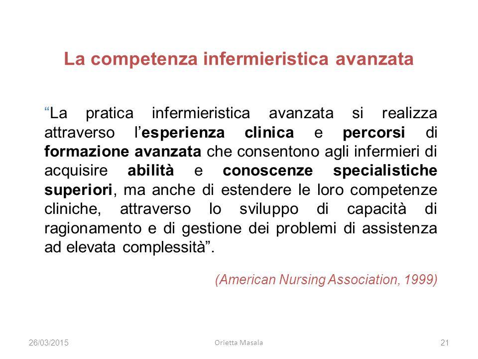 """La competenza infermieristica avanzata """"La pratica infermieristica avanzata si realizza attraverso l'esperienza clinica e percorsi di formazione avanz"""