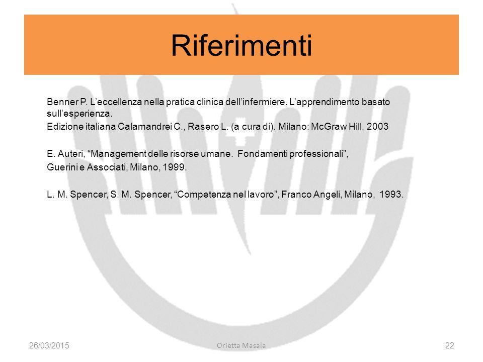 Benner P. L'eccellenza nella pratica clinica dell'infermiere. L'apprendimento basato sull'esperienza. Edizione italiana Calamandrei C., Rasero L. (a c