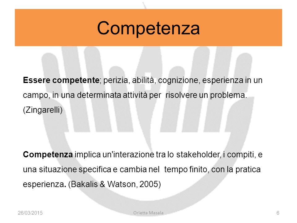 Competenza Essere competente; perizia, abilità, cognizione, esperienza in un campo, in una determinata attività per risolvere un problema. (Zingarelli