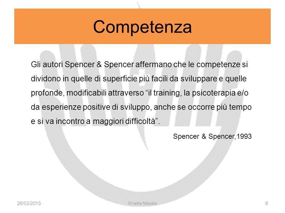 Gli autori Spencer & Spencer affermano che le competenze si dividono in quelle di superficie più facili da sviluppare e quelle profonde, modificabili