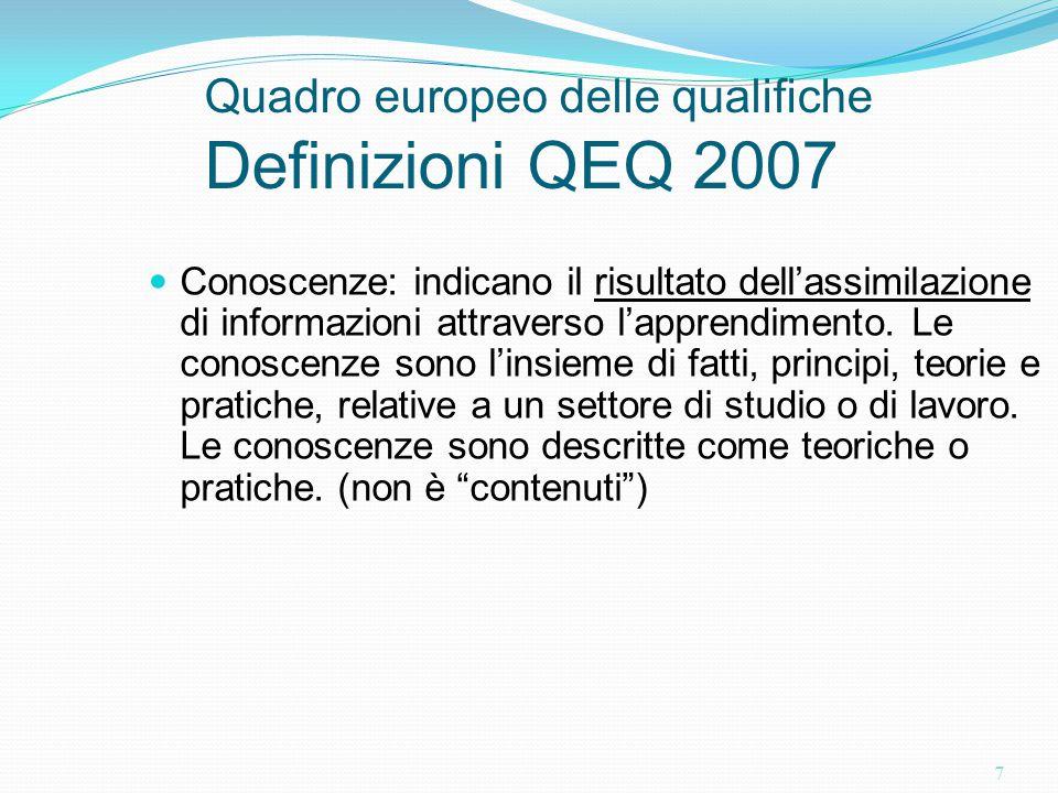 7 Quadro europeo delle qualifiche Definizioni QEQ 2007 Conoscenze: indicano il risultato dell'assimilazione di informazioni attraverso l'apprendimento