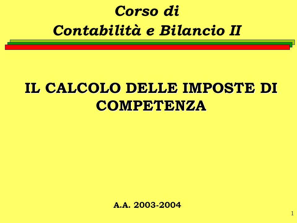1 IL CALCOLO DELLE IMPOSTE DI COMPETENZA Corso di Contabilità e Bilancio II A.A. 2003-2004