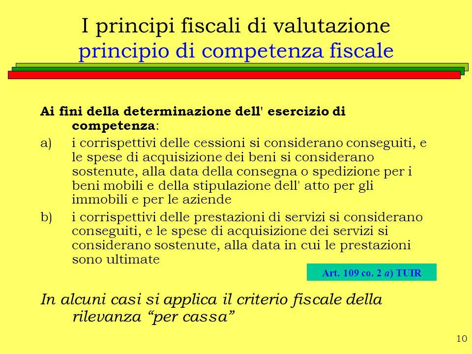 10 I principi fiscali di valutazione principio di competenza fiscale Ai fini della determinazione dell' esercizio di competenza : a)i corrispettivi de