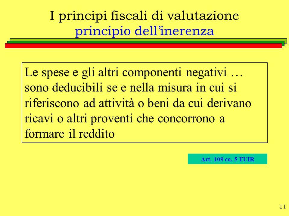 11 I principi fiscali di valutazione principio dell'inerenza Le spese e gli altri componenti negativi … sono deducibili se e nella misura in cui si ri