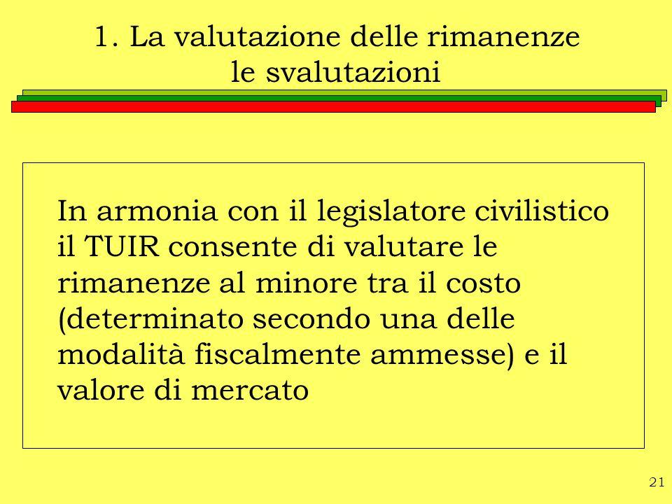 21 1. La valutazione delle rimanenze le svalutazioni In armonia con il legislatore civilistico il TUIR consente di valutare le rimanenze al minore tra