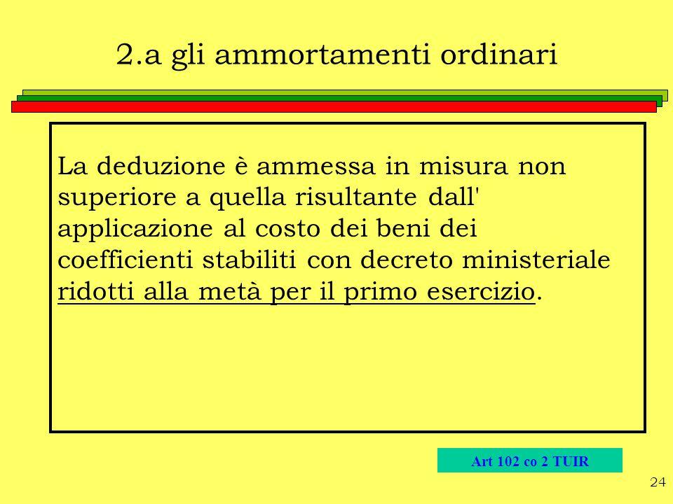 24 2.a gli ammortamenti ordinari La deduzione è ammessa in misura non superiore a quella risultante dall' applicazione al costo dei beni dei coefficie
