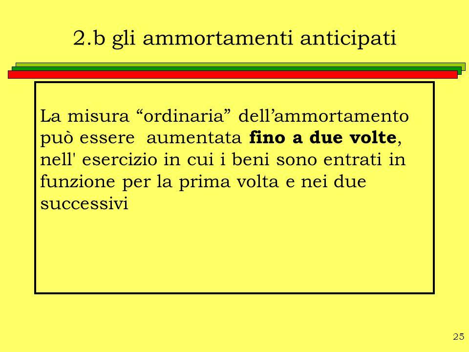 """25 2.b gli ammortamenti anticipati La misura """"ordinaria"""" dell'ammortamento può essere aumentata fino a due volte, nell' esercizio in cui i beni sono e"""