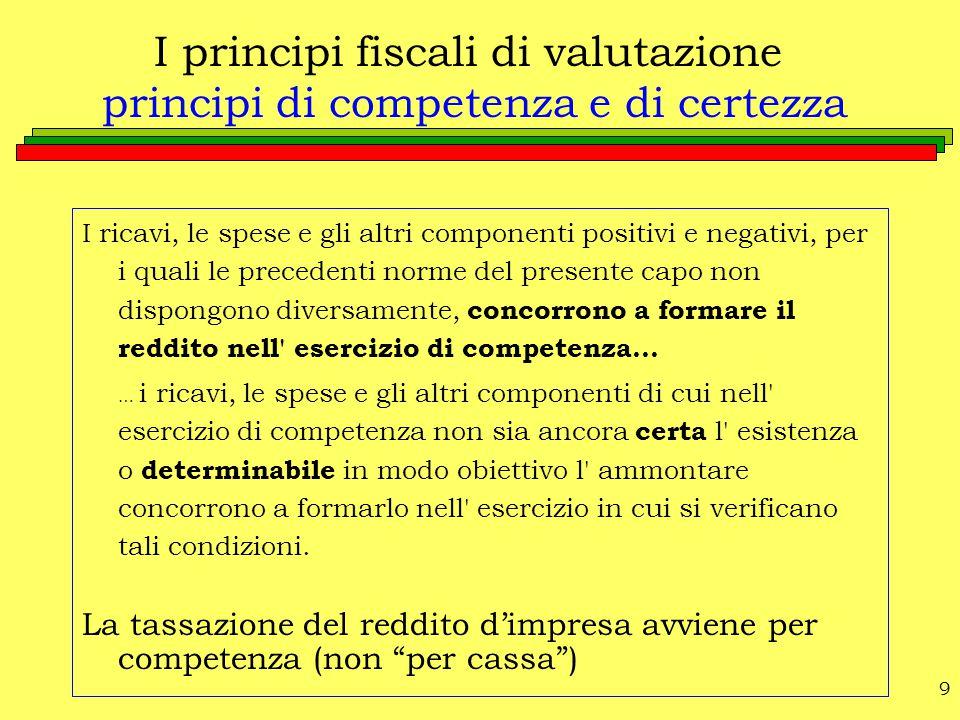 9 I principi fiscali di valutazione principi di competenza e di certezza I ricavi, le spese e gli altri componenti positivi e negativi, per i quali le