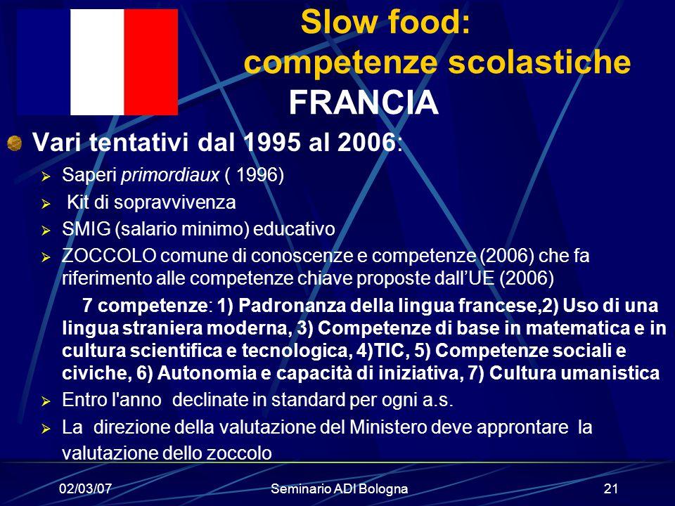 02/03/07Seminario ADI Bologna21 Slow food: competenze scolastiche FRANCIA Vari tentativi dal 1995 al 2006:  Saperi primordiaux ( 1996)  Kit di sopra