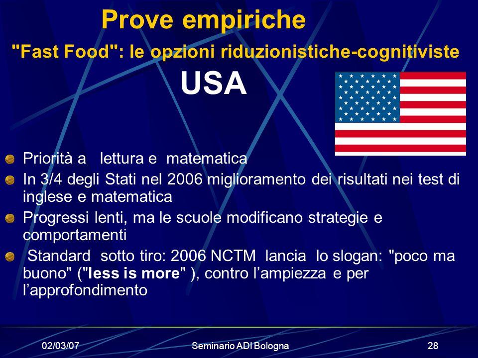 02/03/07Seminario ADI Bologna28 Prove empiriche