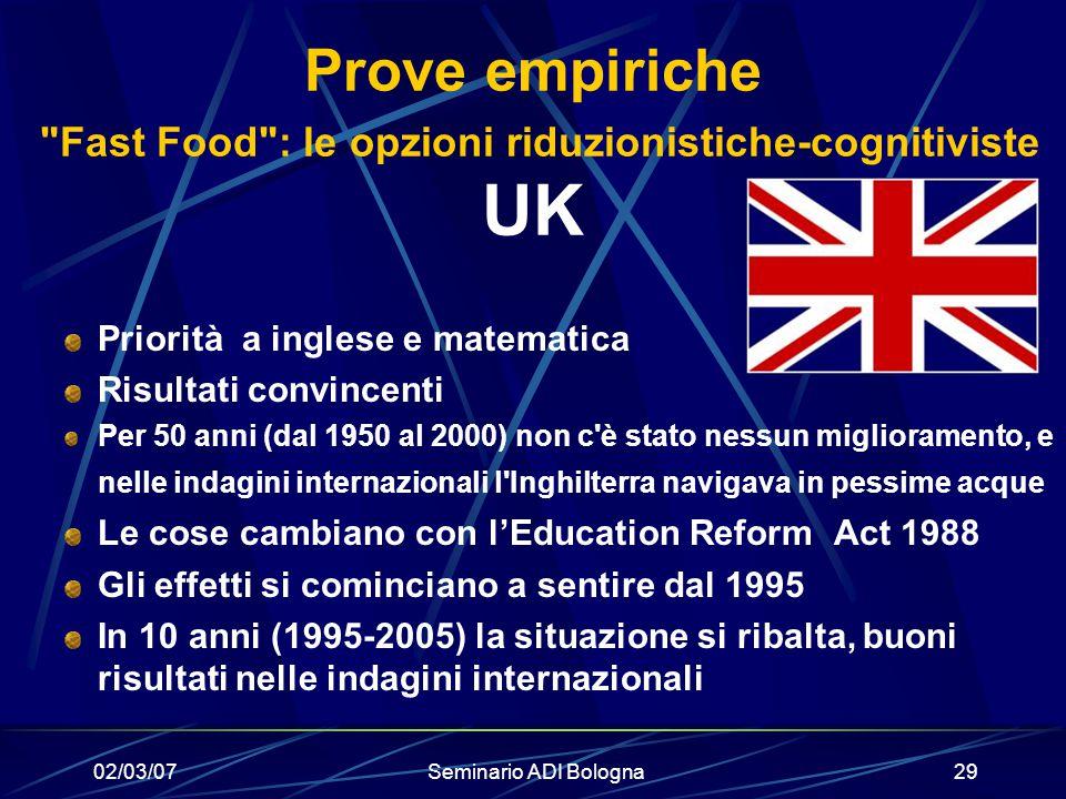 02/03/07Seminario ADI Bologna29 Prove empiriche