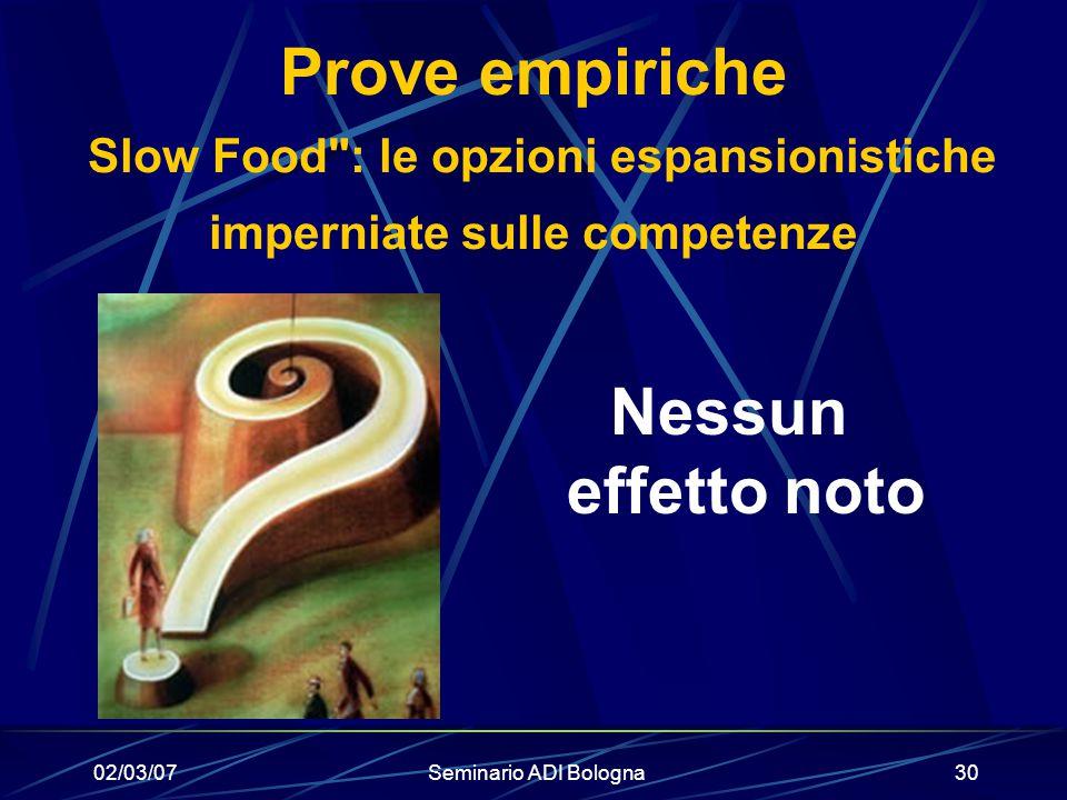 02/03/07Seminario ADI Bologna30 Prove empiriche Slow Food