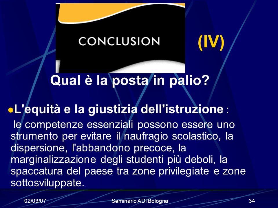 02/03/07Seminario ADI Bologna34 (IV) Qual è la posta in palio? L'equità e la giustizia dell'istruzione : le competenze essenziali possono essere uno s