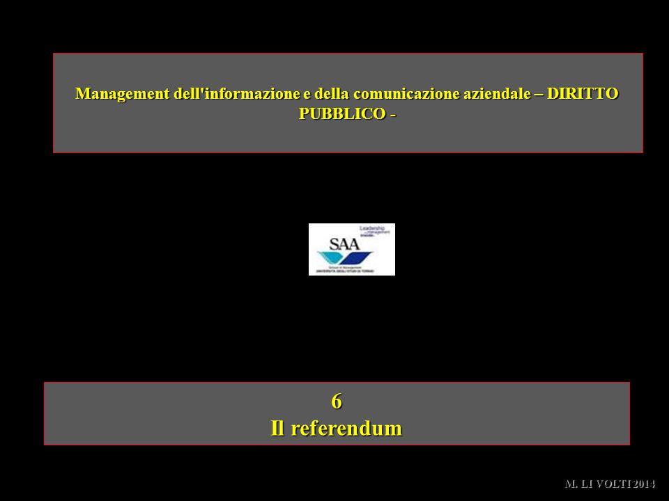 6 Il referendum Management dell'informazione e della comunicazione aziendale – DIRITTO PUBBLICO - M. LI VOLTI 2014