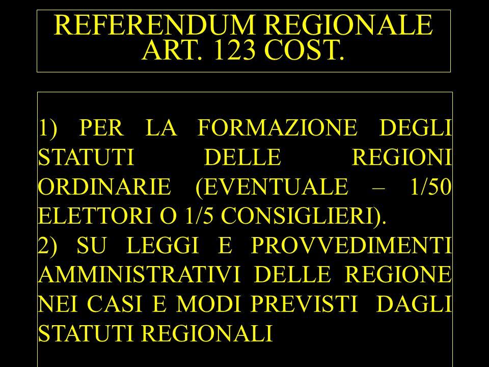 REFERENDUM REGIONALE ART. 123 COST. 1) PER LA FORMAZIONE DEGLI STATUTI DELLE REGIONI ORDINARIE (EVENTUALE – 1/50 ELETTORI O 1/5 CONSIGLIERI). 2) SU LE