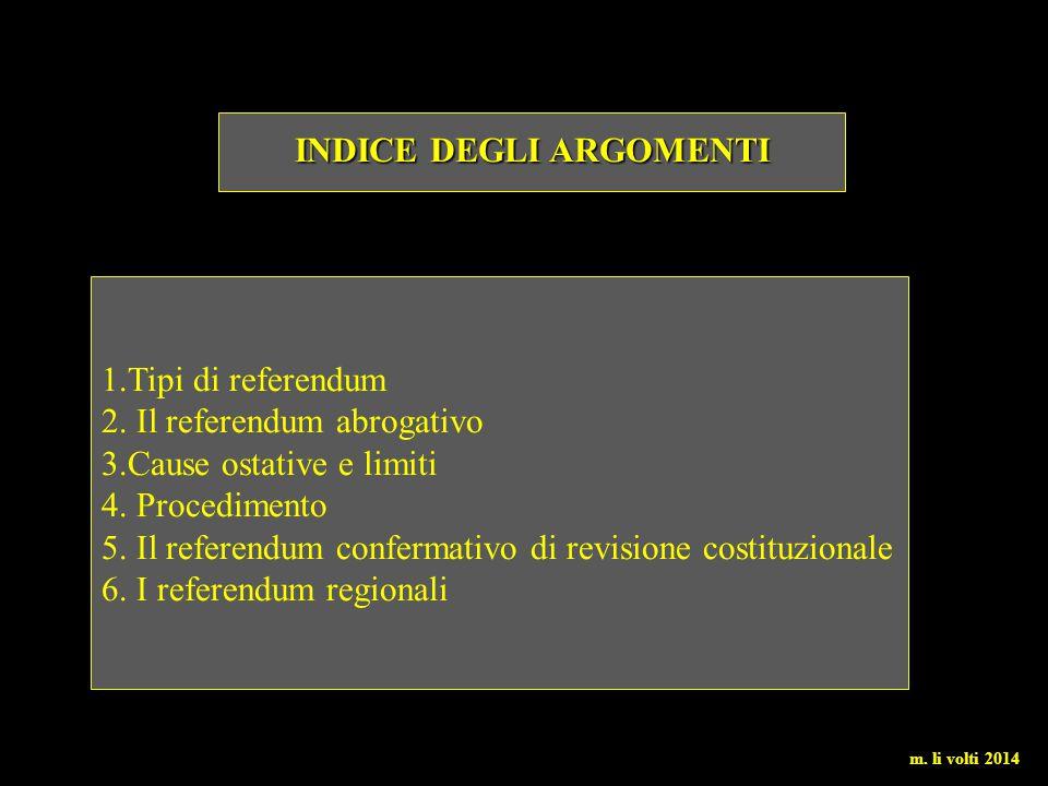 1.Tipi di referendum 2. Il referendum abrogativo 3.Cause ostative e limiti 4. Procedimento 5. Il referendum confermativo di revisione costituzionale 6