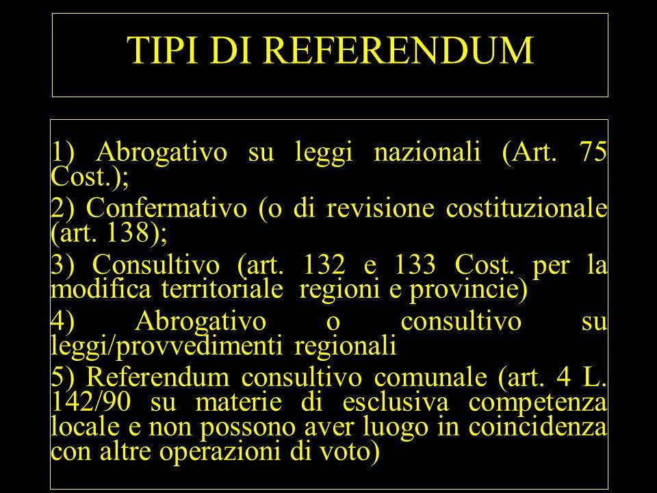 TIPI DI REFERENDUM 1) Abrogativo su leggi nazionali (Art. 75 Cost.); 2) Confermativo (o di revisione costituzionale (art. 138); 3) Consultivo (art. 1