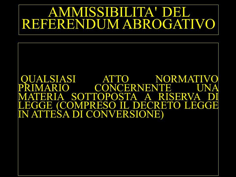 INAMMISSIBILITA DEL REFERENDUM ABROGATIVO 1) MATERIE PREVISTE DALL ART.